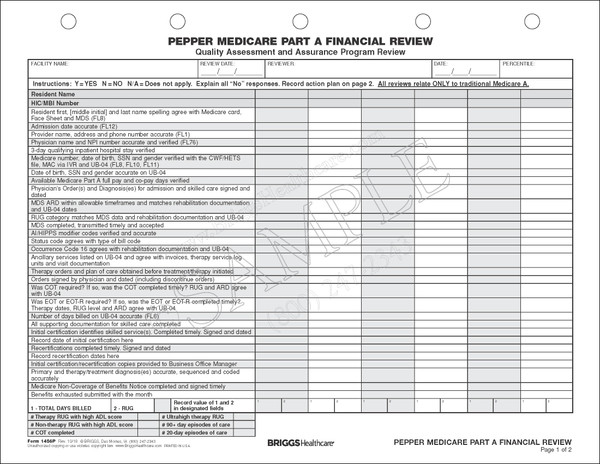 Medicare Part D >> PEPPER Medicare Part A Financial Review