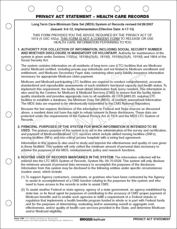 Privacy Act Statement - Health Care Records