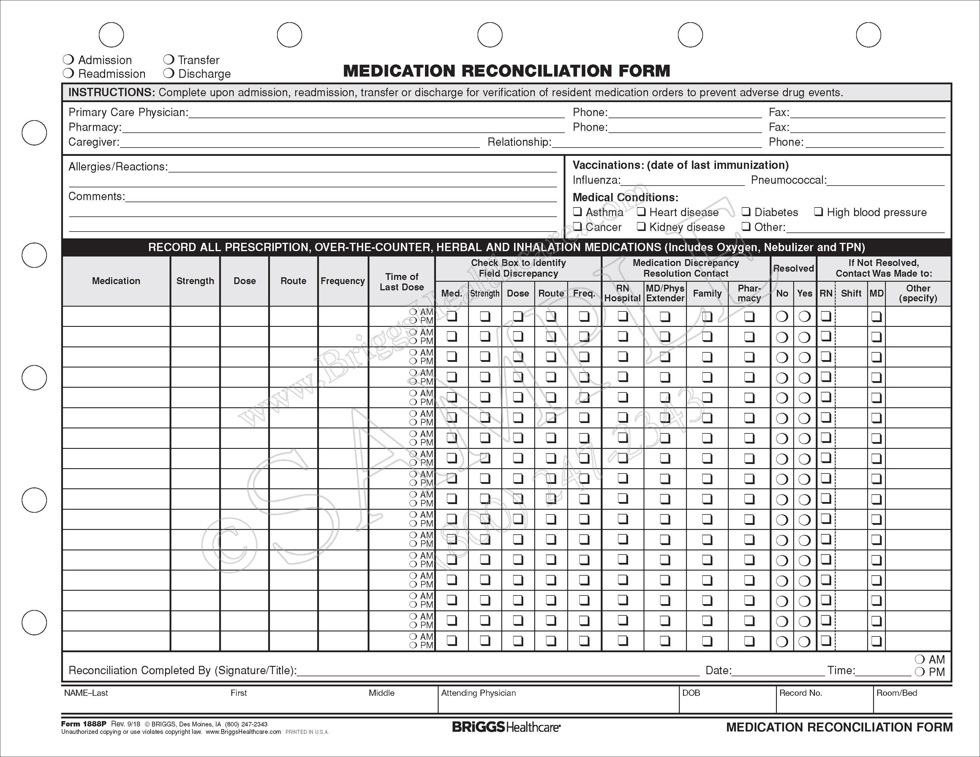 medication reconciliation form