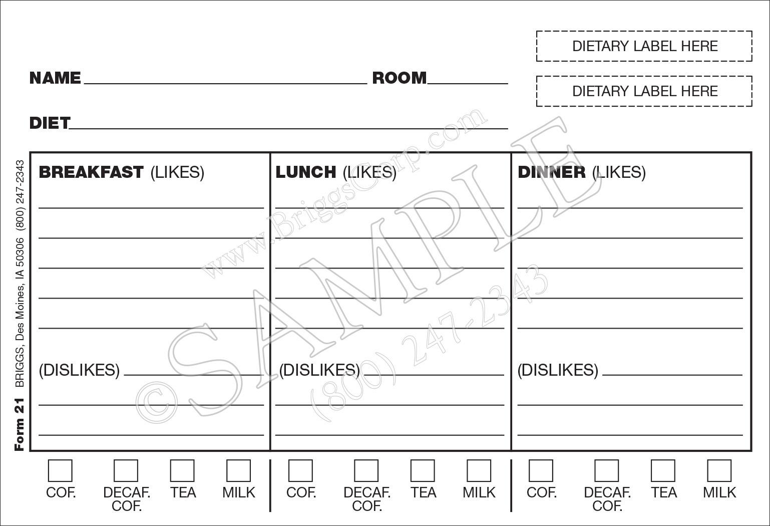 diet card with laminate sheet