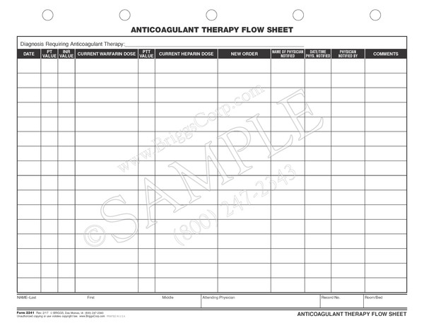 Ventilator Flow Sheet Sample : Anticoagulant therapy flow sheet