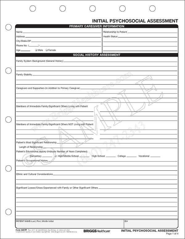 Hospice Initial Psychosocial Assessment Form