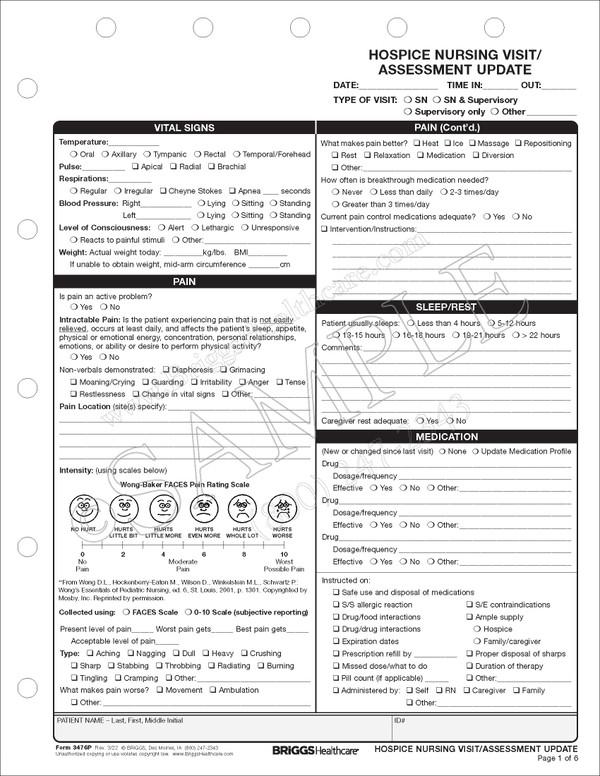 Hospice Nursing Visit Note Form
