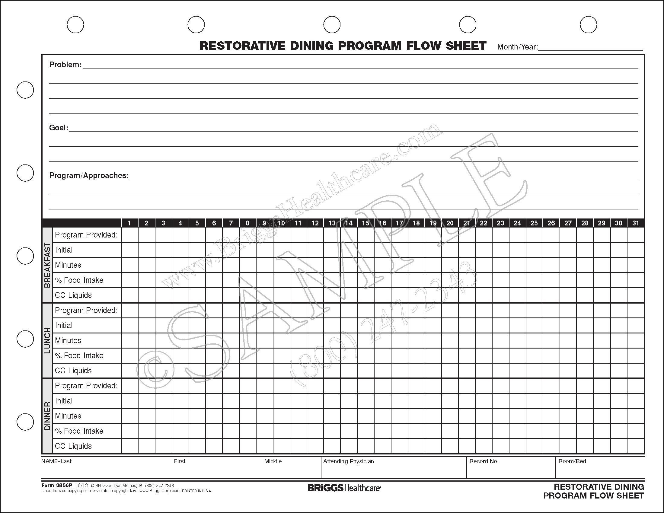 restorative dining program flow sheet