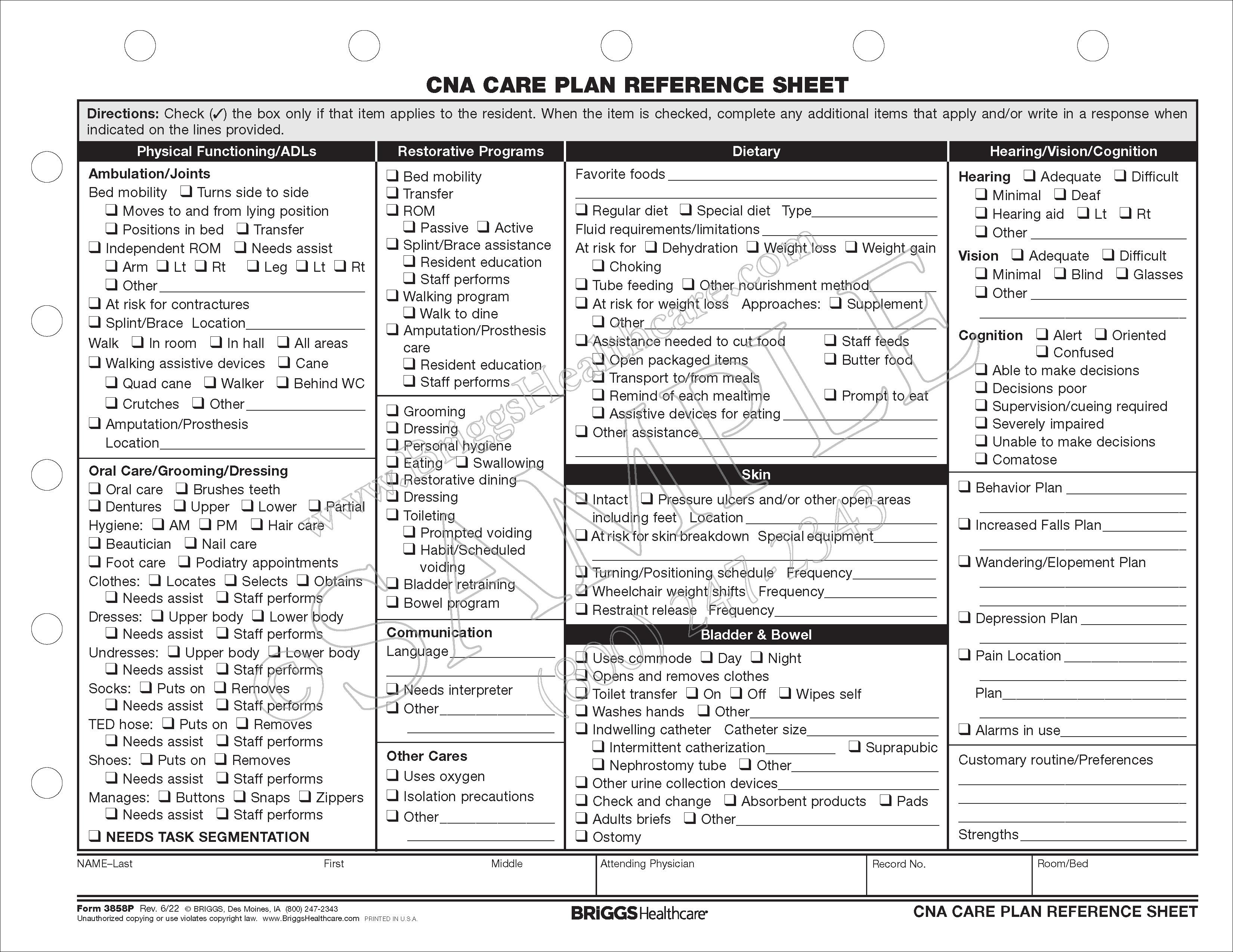 cna care plan reference sheet