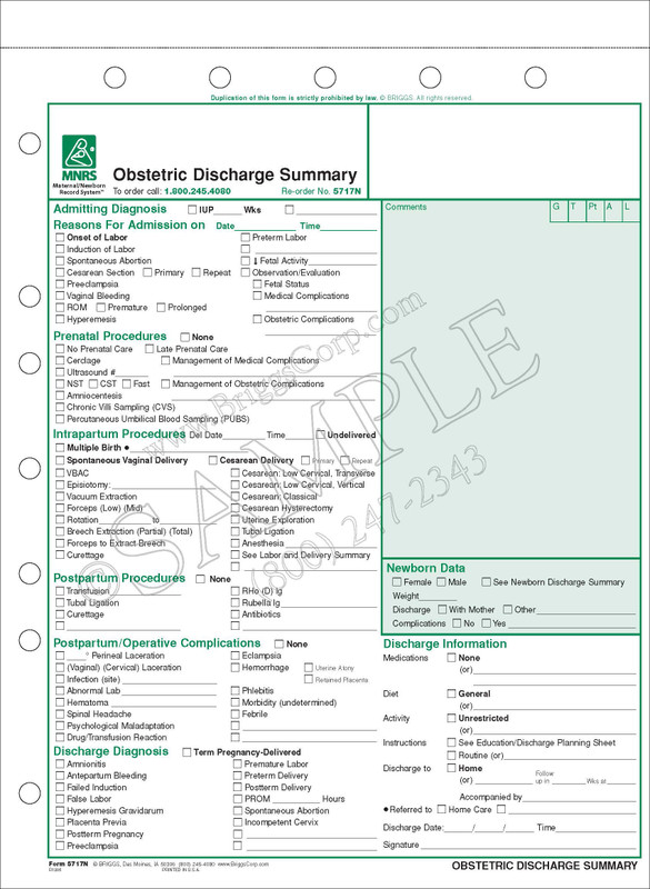 Obstetric Discharge Summary Form