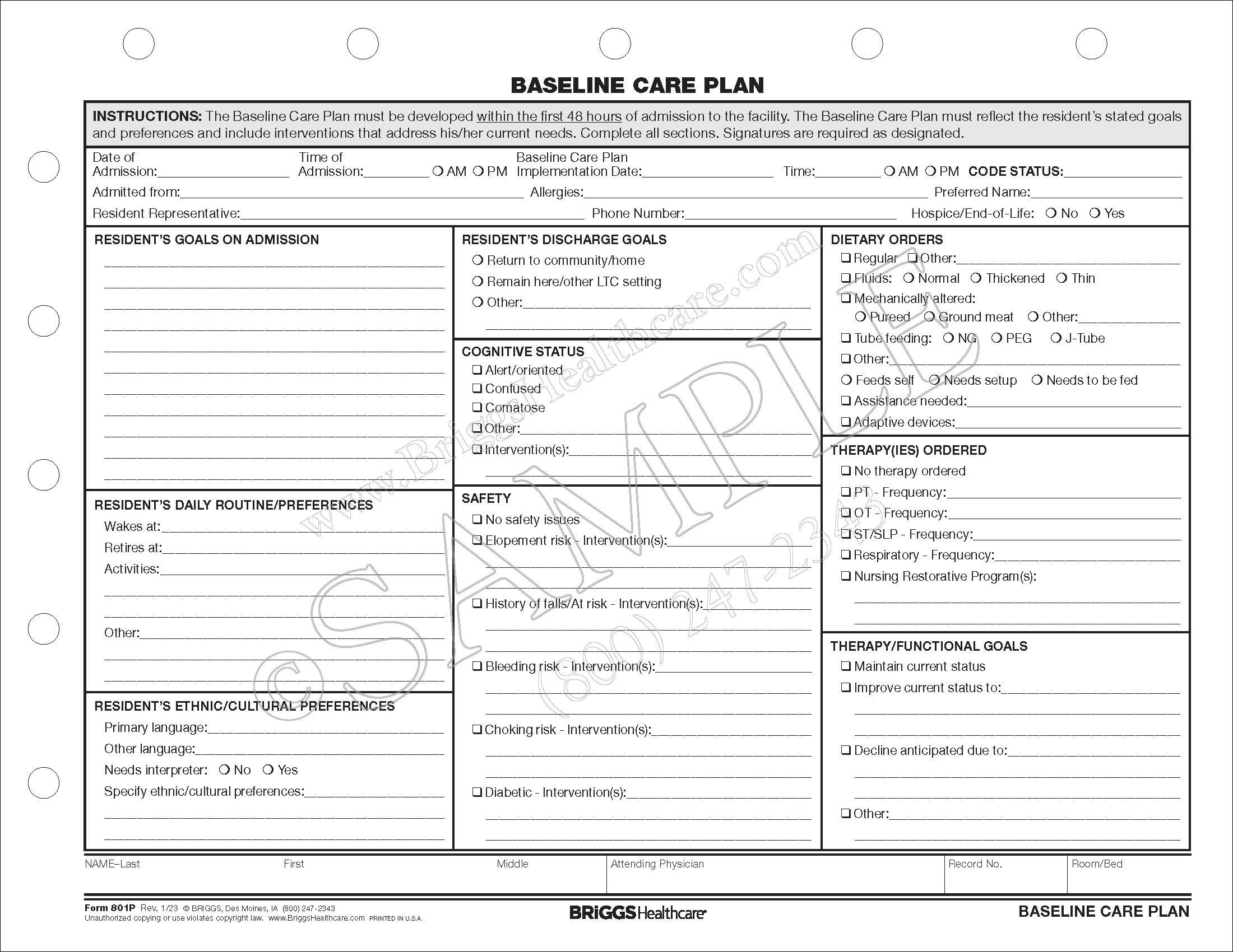 baseline care plan