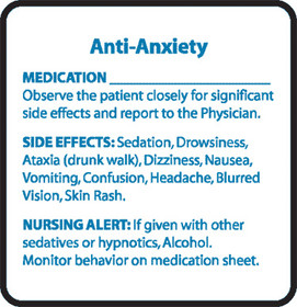 Chemical Restraint Drug Label - Anti-Anxiety
