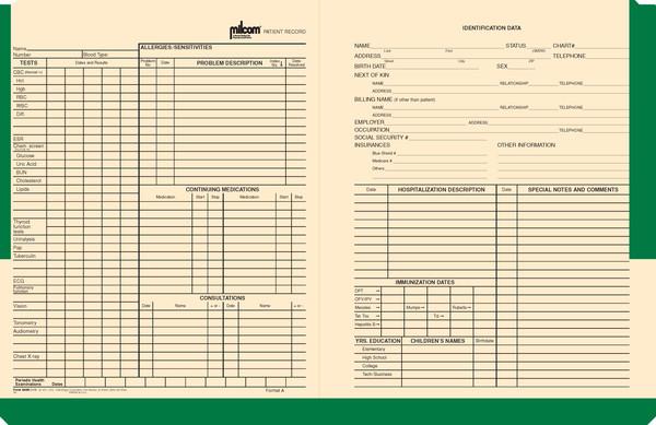 Milcom Medical Record Jacket